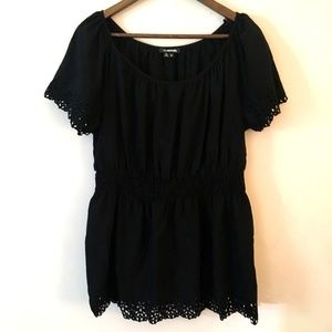 My Michelle Black Short Sleeve Laser Cut Blouse